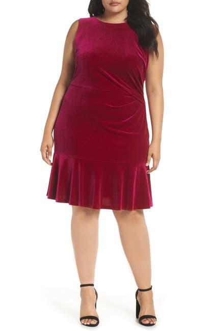 Image of Eliza J Velvet Ruffle Hem Dress