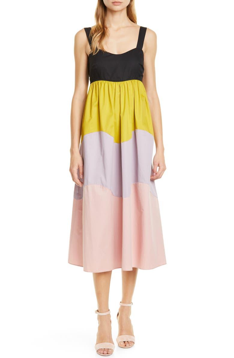KATE SPADE NEW YORK scallop colorblock midi dress, Main, color, 001