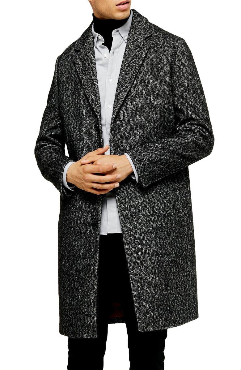 TOPMAN Leon Herringbone Coat, Main, color, MID BLUE