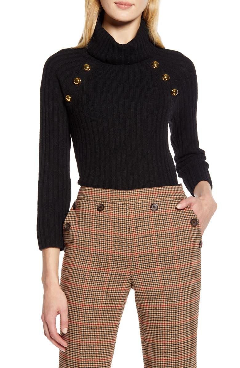 HALOGEN<SUP>®</SUP> x Atlantic-Pacific Button Detail Turtleneck Sweater, Main, color, BLACK