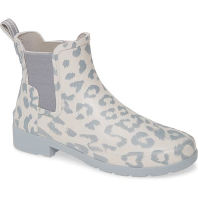 Hunter Original Leopard Print Refined Chelsea Waterproof Rain Boot, Grey