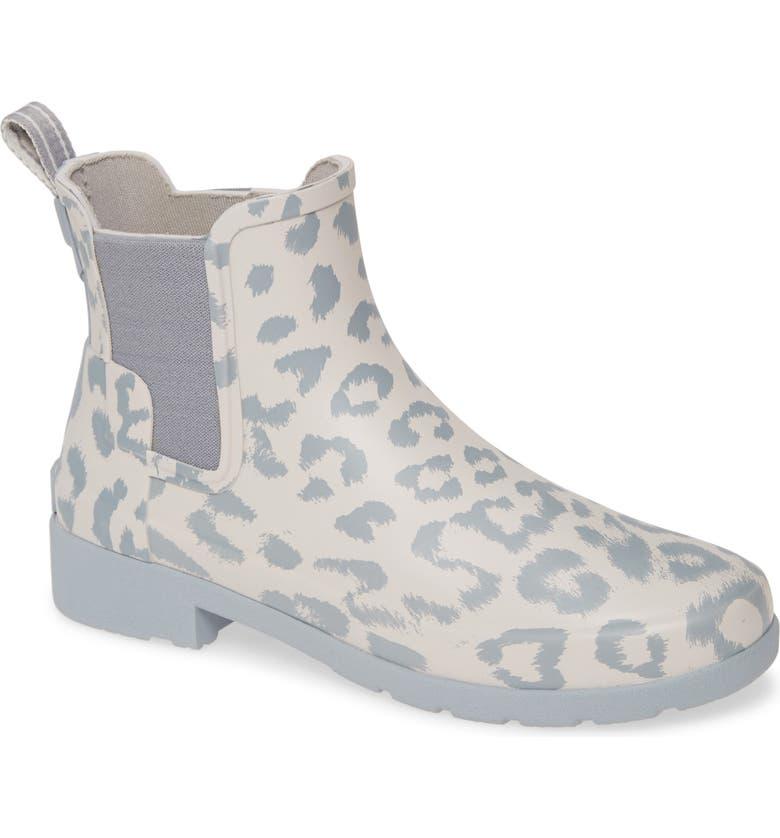 HUNTER Original Leopard Print Refined Chelsea Waterproof Rain Boot, Main, color, CLATTER/ STORMY
