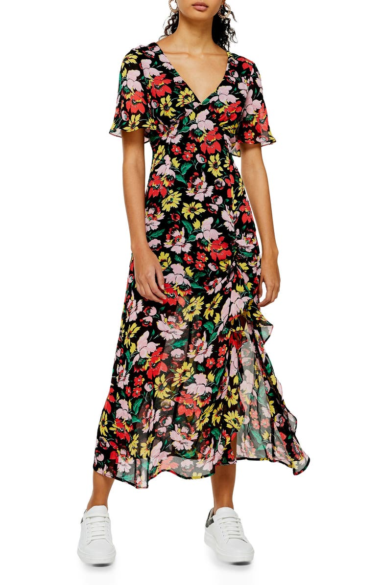 TOPSHOP Floral Print Ruffle Sleeve Dress, Main, color, BLACK MULTI