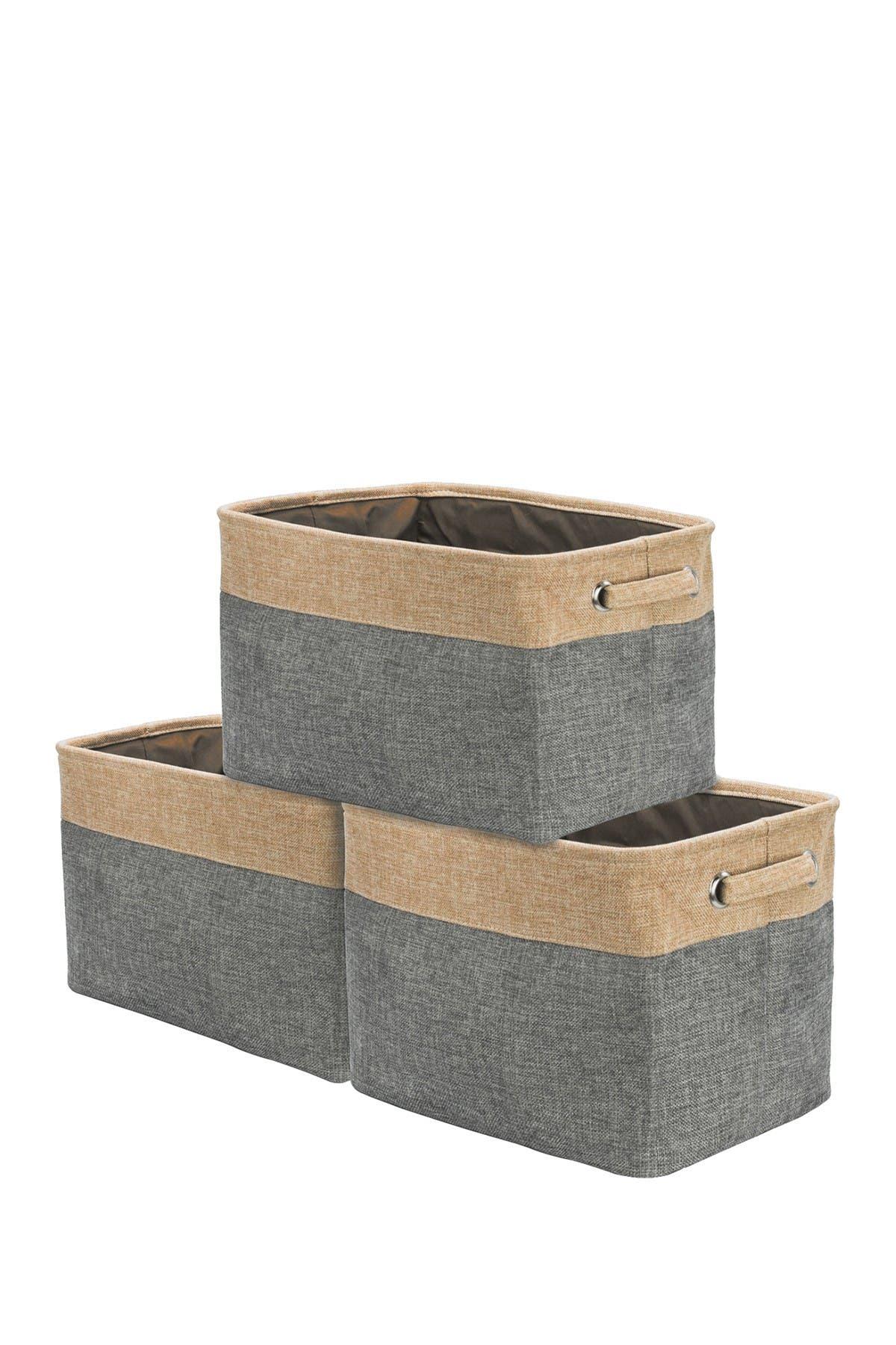Image of Sorbus Grey Twill Storage Basket - Set of 3