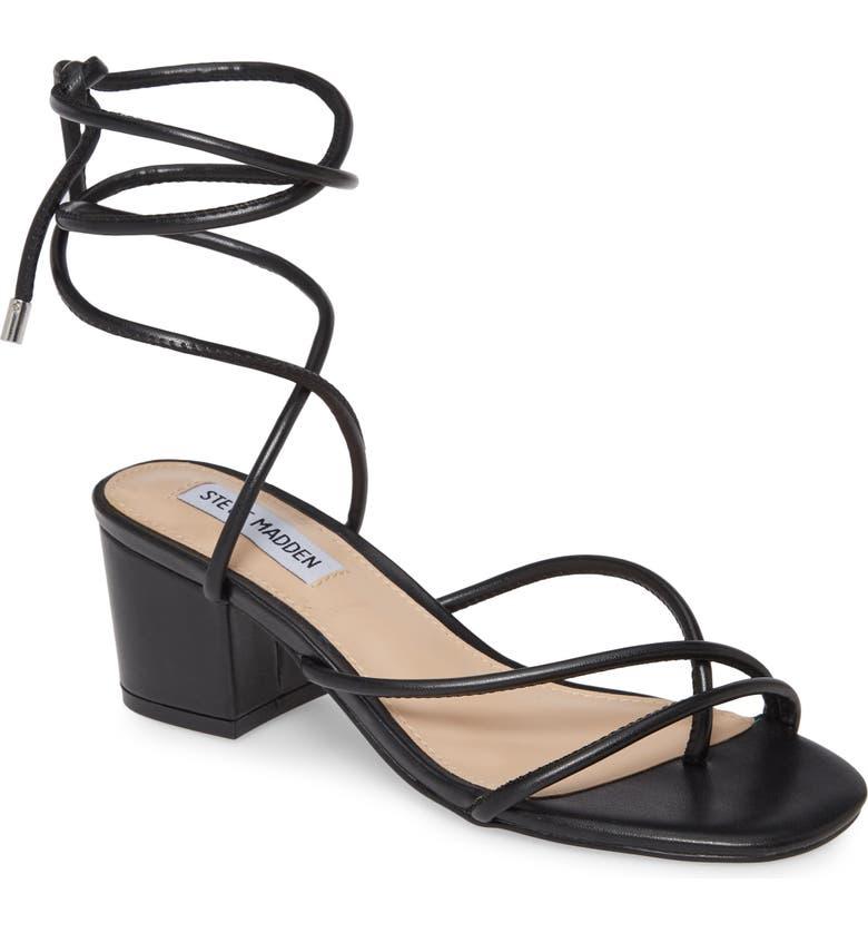 STEVE MADDEN Impressed Lace Up Sandal, Main, color, BLACK