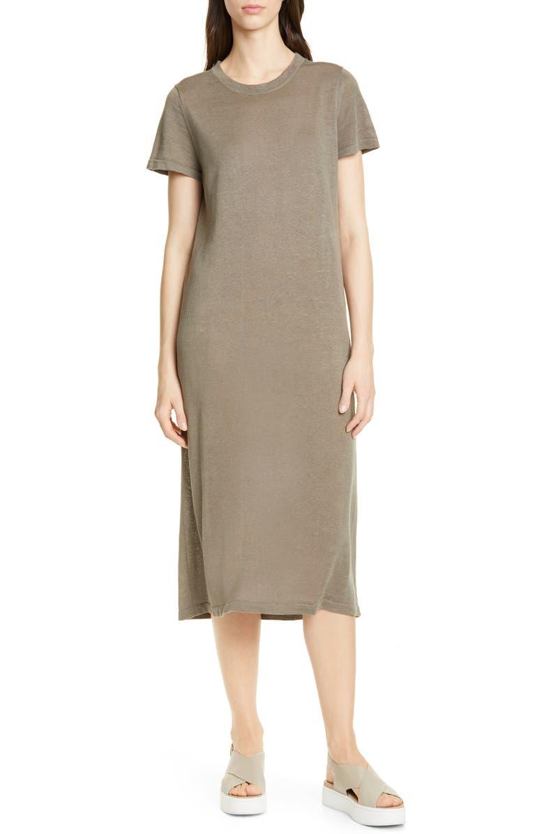 JENNI KAYNE Linen T-Shirt Midi Dress, Main, color, SAGE