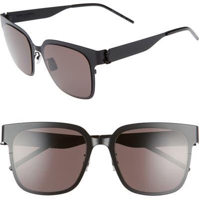 Saint Laurent 5m Flat Front Sunglasses - Semi Matte Black/ Black Logo