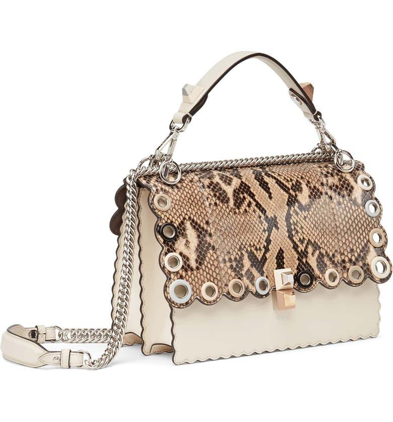 FENDI Small Kan I Genuine Python & Calfskin Shoulder Bag, Main, color, 250