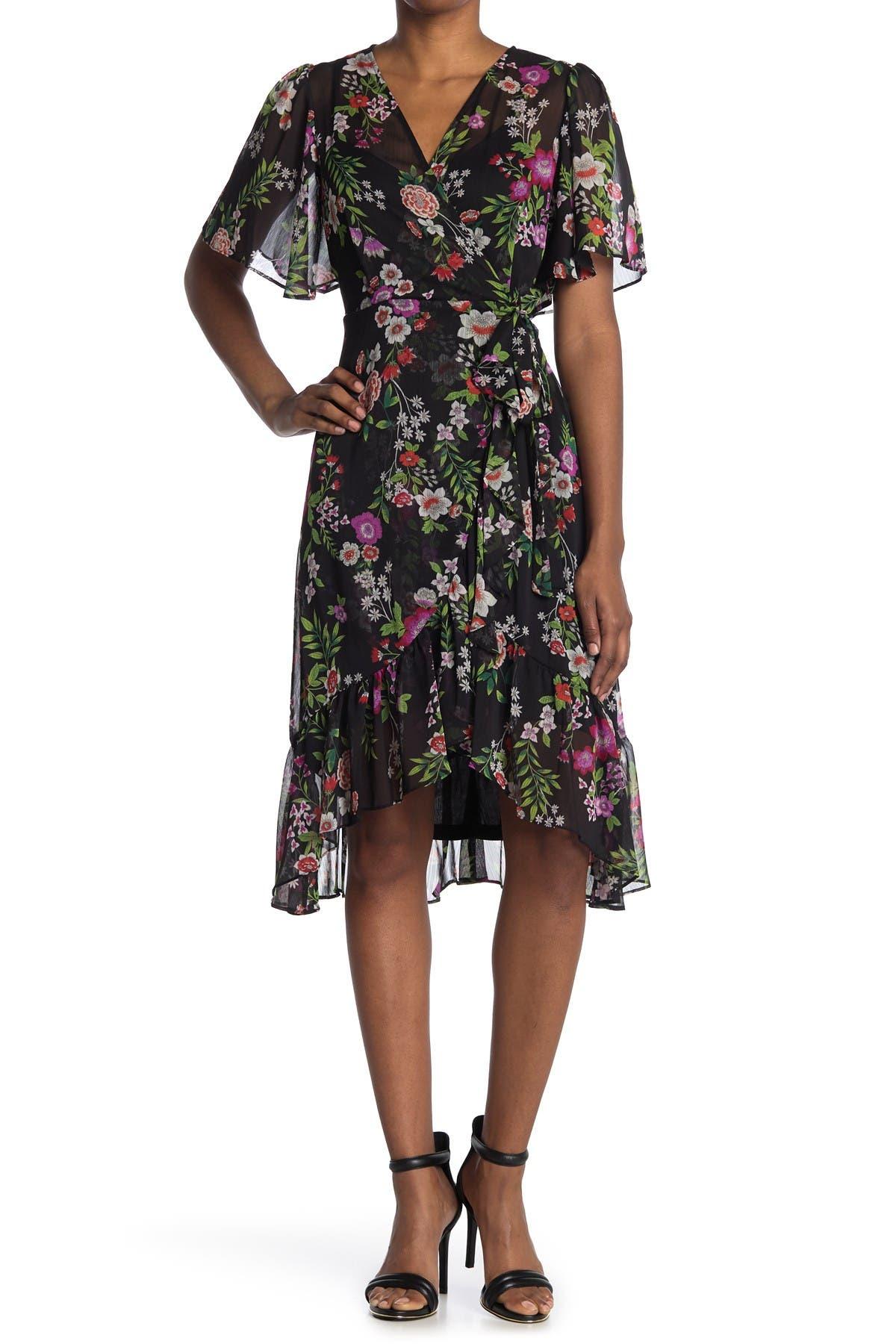 Image of Calvin Klein Wrap Floral Midi Dress