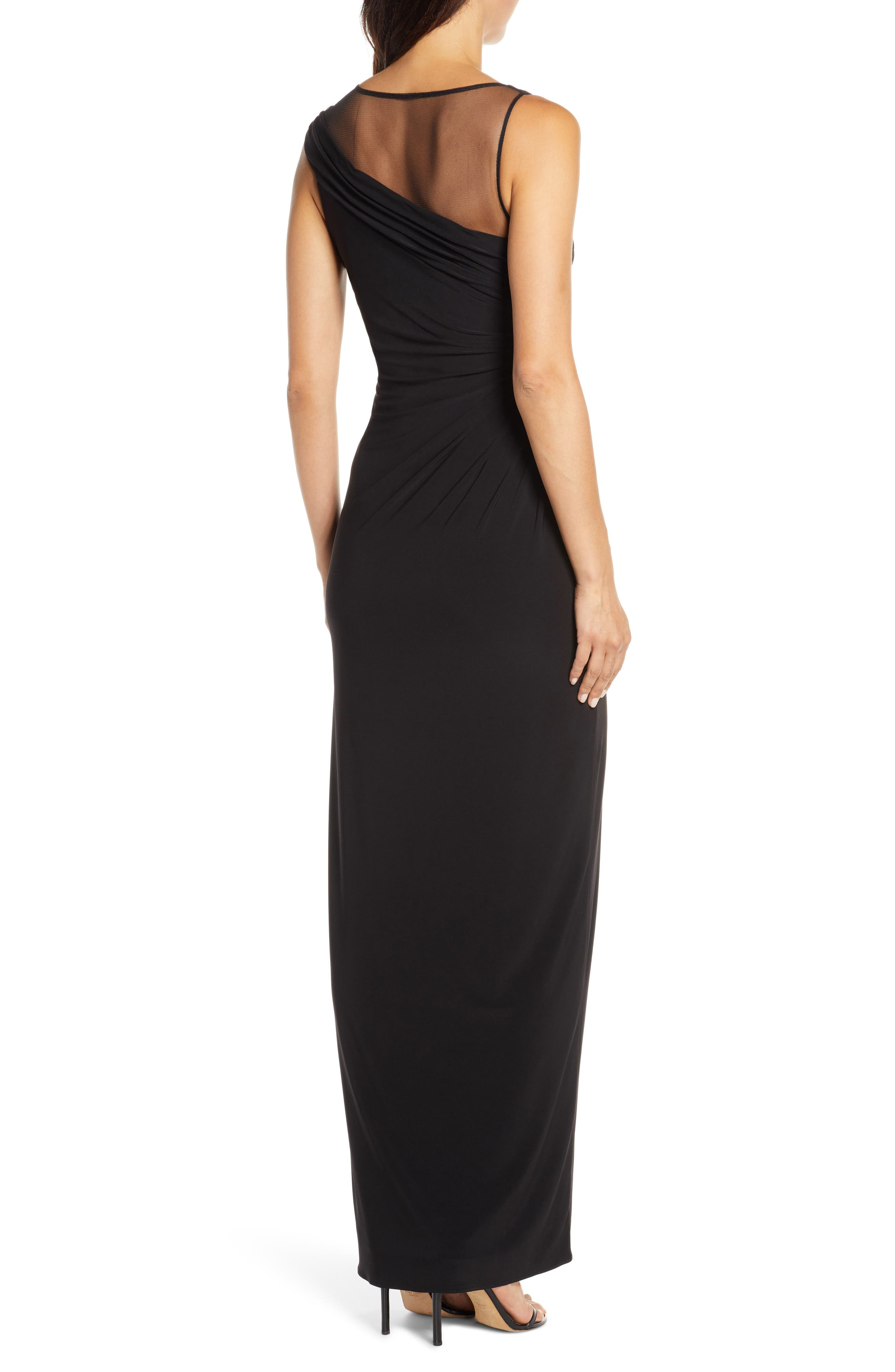 Adrianna Papell Dresses Mesh Inset Jersey Column Gown