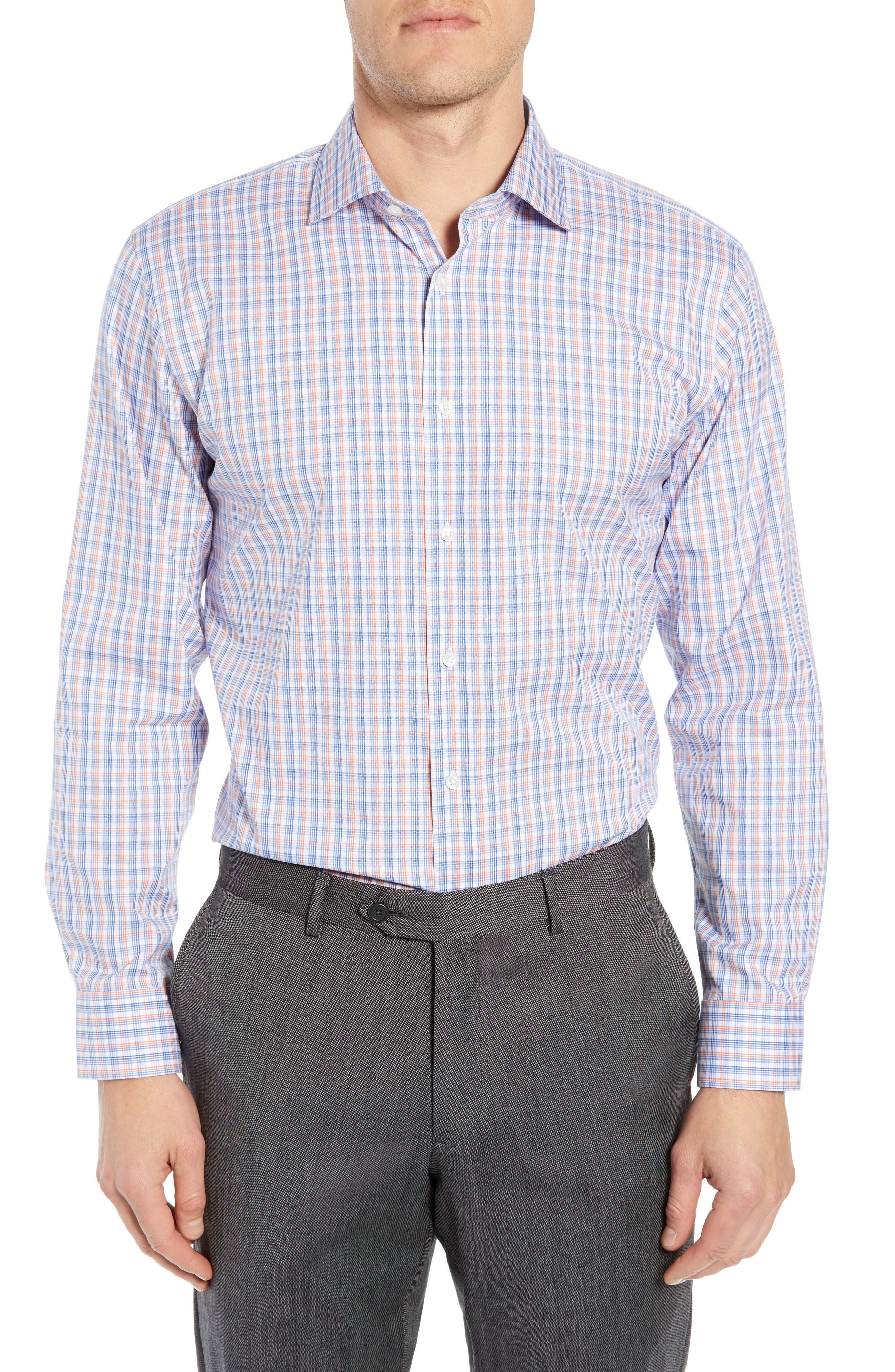 ,                             Trim Fit Non-Iron Plaid Dress Shirt,                             Main thumbnail 1, color,                             CORAL REEF