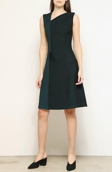 Refined Textured Herringbone Fit & Flare Dress, video thumbnail