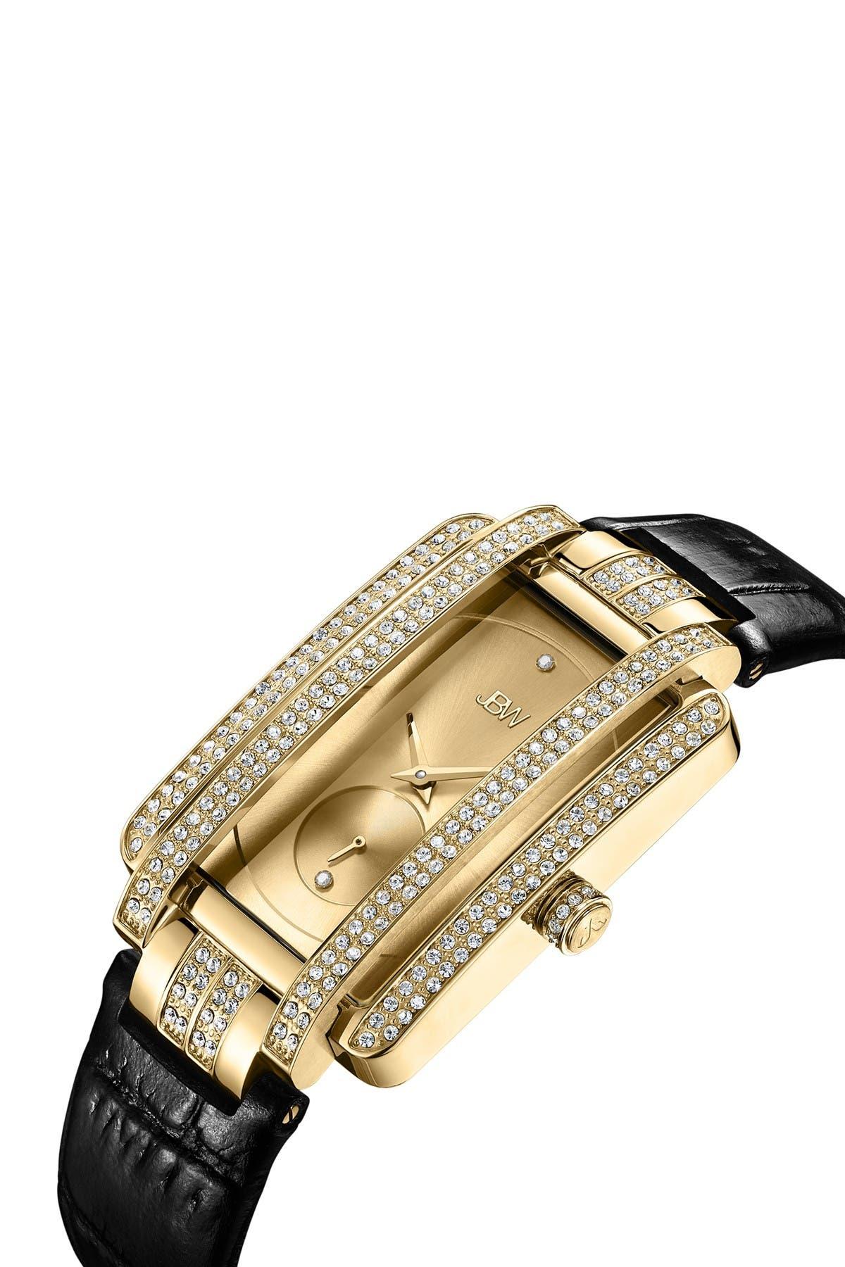 Image of JBW Women's Mink Diamond Croc Embossed Leather Strap Watch, 28mm - 0.02 ctw