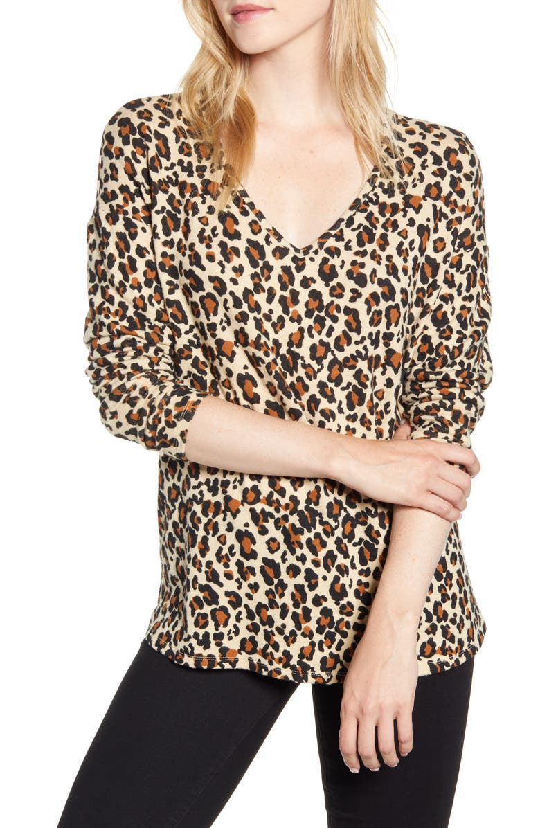 GIBSON Cozy V-Neck Top, Main, color, NEUTRAL LEOPARD