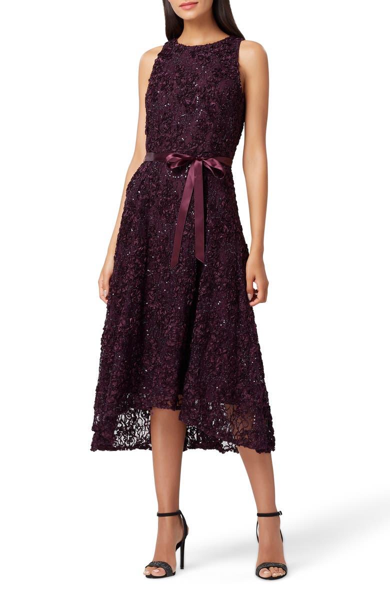 TAHARI Embellished Soutache Fit & Flare Dress, Main, color, 508