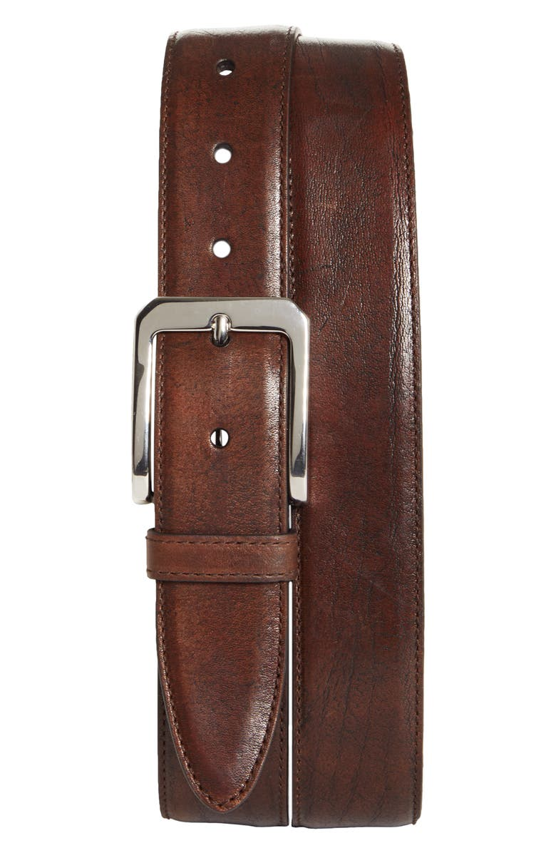 BRUNELLO CUCINELLI Leather Belt, Main, color, RHUM