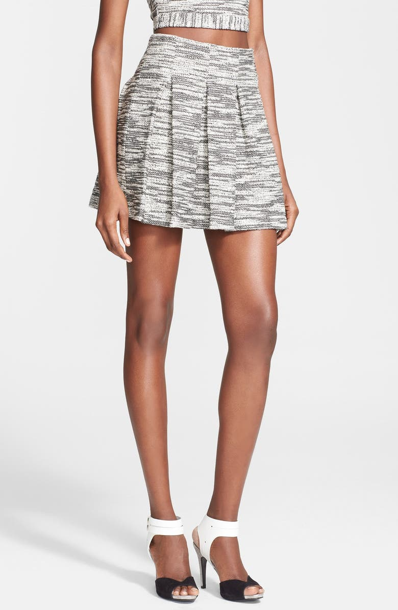 ALICE + OLIVIA 'Davis' Pleat Flared Skirt, Main, color, 008