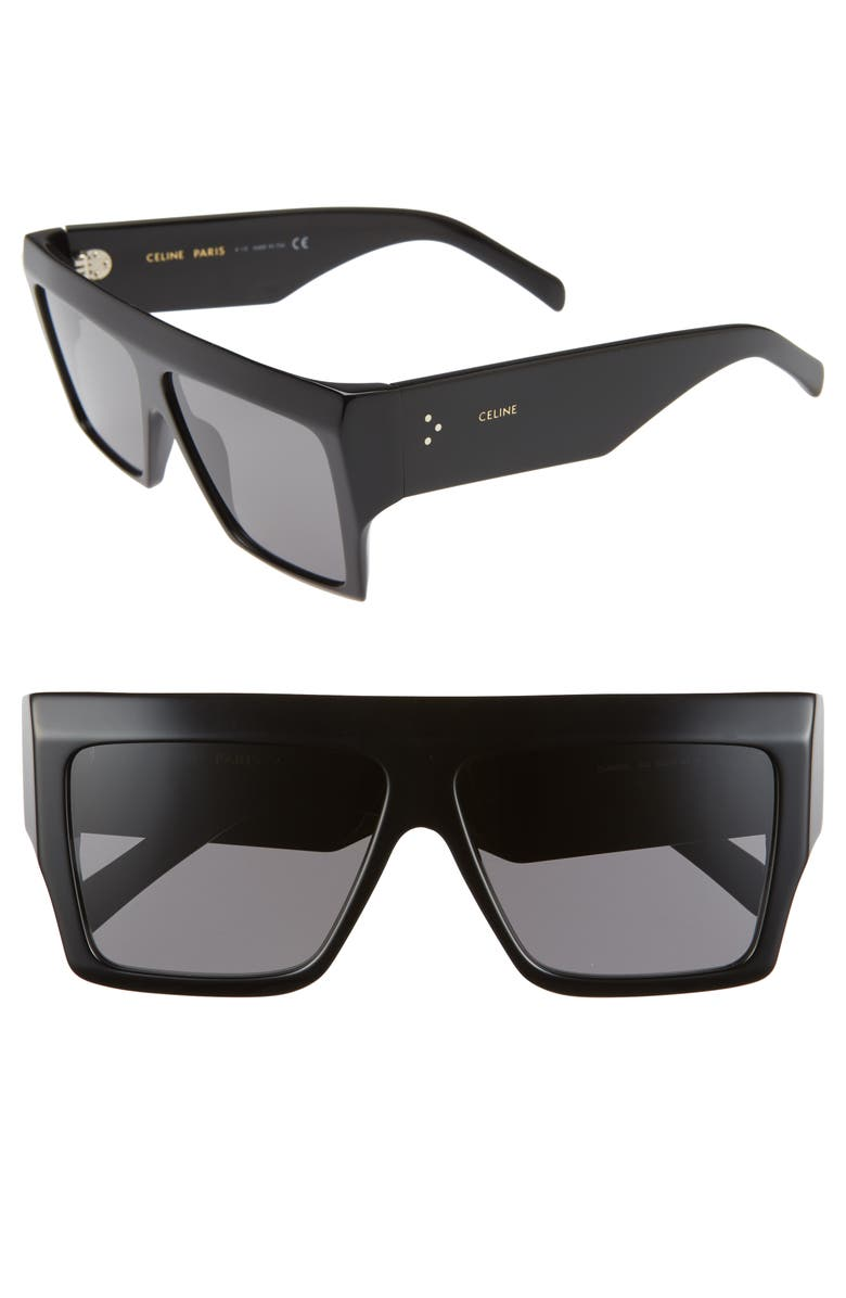 CELINE 60mm Flat Top Sunglasses, Main, color, BLACK/ SMOKE