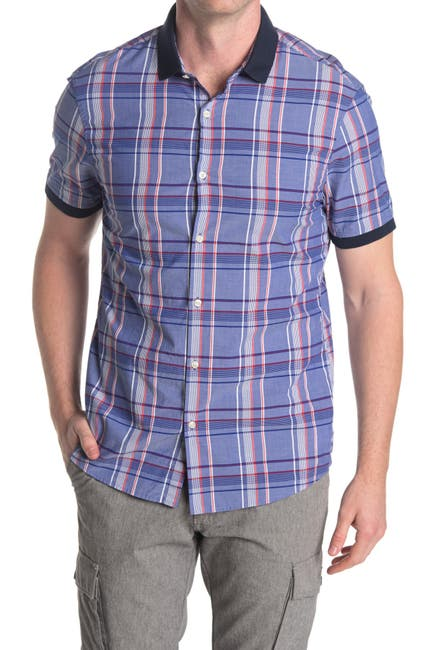 Image of Michael Kors Slim Fit Aaron Stretch Short Sleeve Shirt