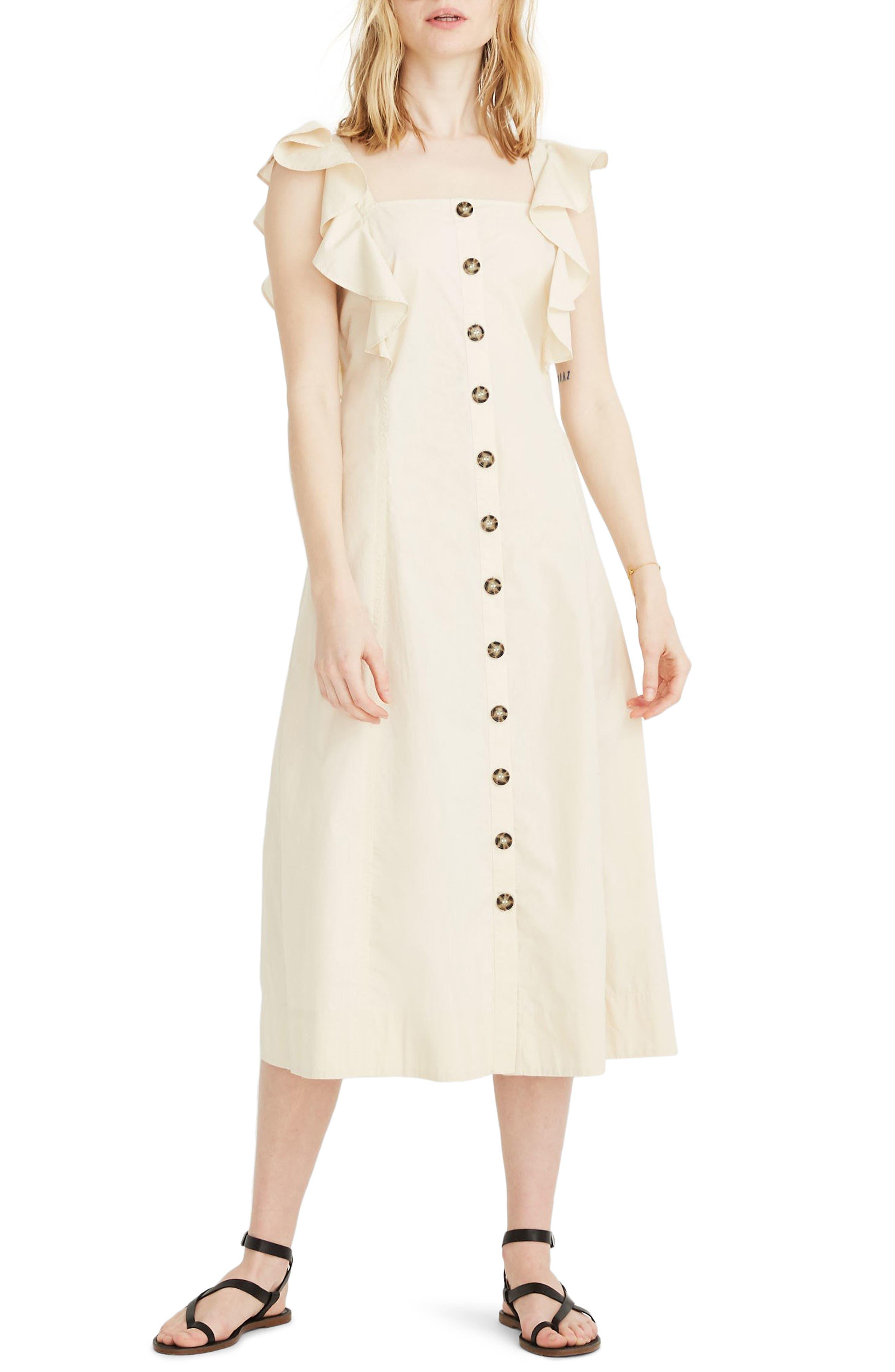 Madewell Princess Seamed Midi Dress, Ivory