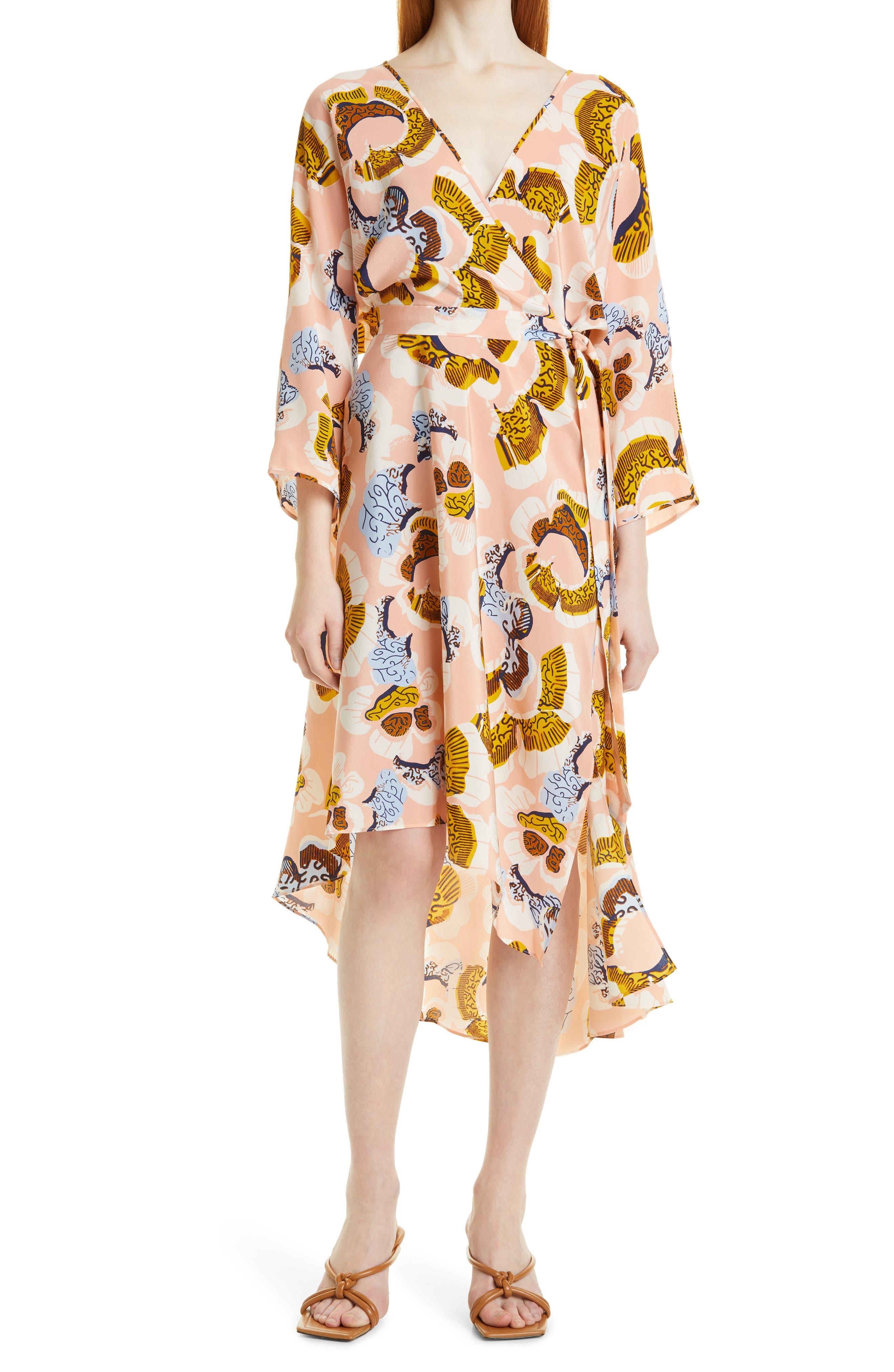 Eloise Floral Silk Wrap Dress