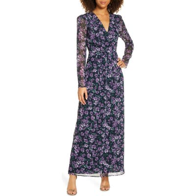 Wayf Celeste Floral Pleated Long Sleeve Gown, Purple