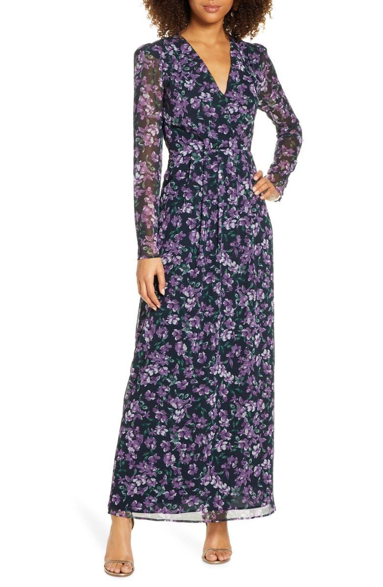 WAYF Celeste Floral Pleated Long Sleeve Gown, Main, color, AUBERGINE JASMINE FLORAL