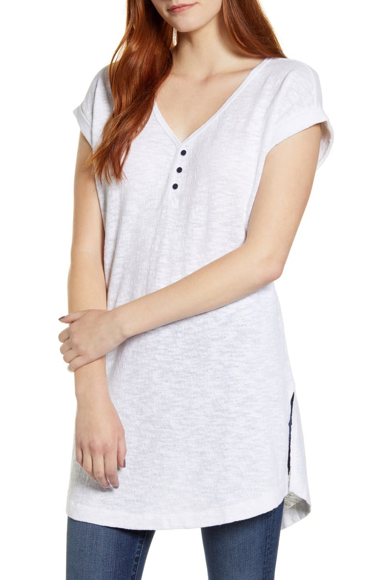 CASLON<SUP>®</SUP> V-Neck Tunic Top, Main, color, WHITE