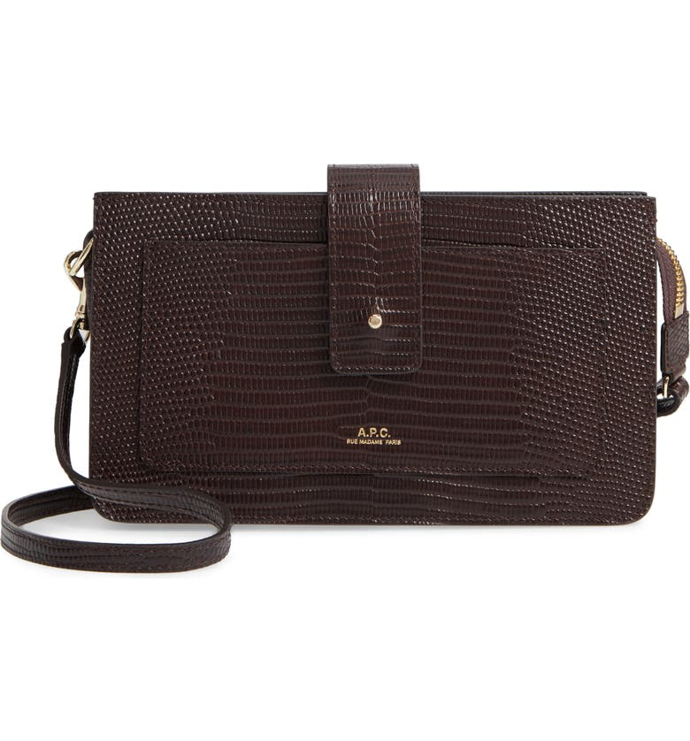 A.P.C. Albane Reptile Embossed Leather Crossbody Wallet, Main, color, CAE MARRON FONCE