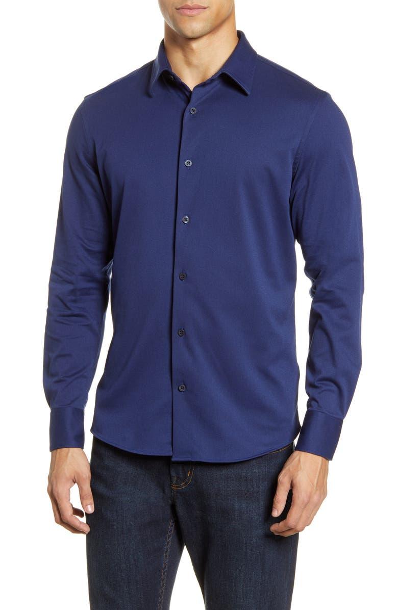 NORDSTROM MEN'S SHOP Trim Fit Button-Up Knit Shirt, Main, color, 401