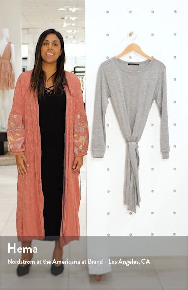 Tie Front Long Sleeve Jersey Dress, sales video thumbnail