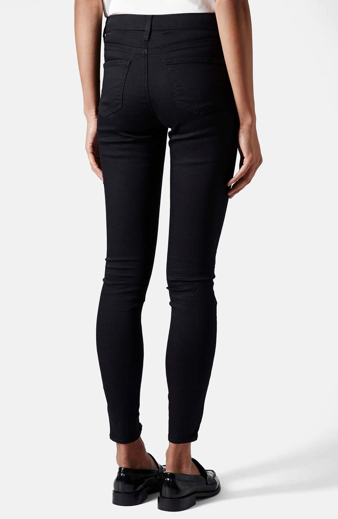,                             Moto 'Leigh' Mid Rise Skinny Jeans,                             Alternate thumbnail 3, color,                             001