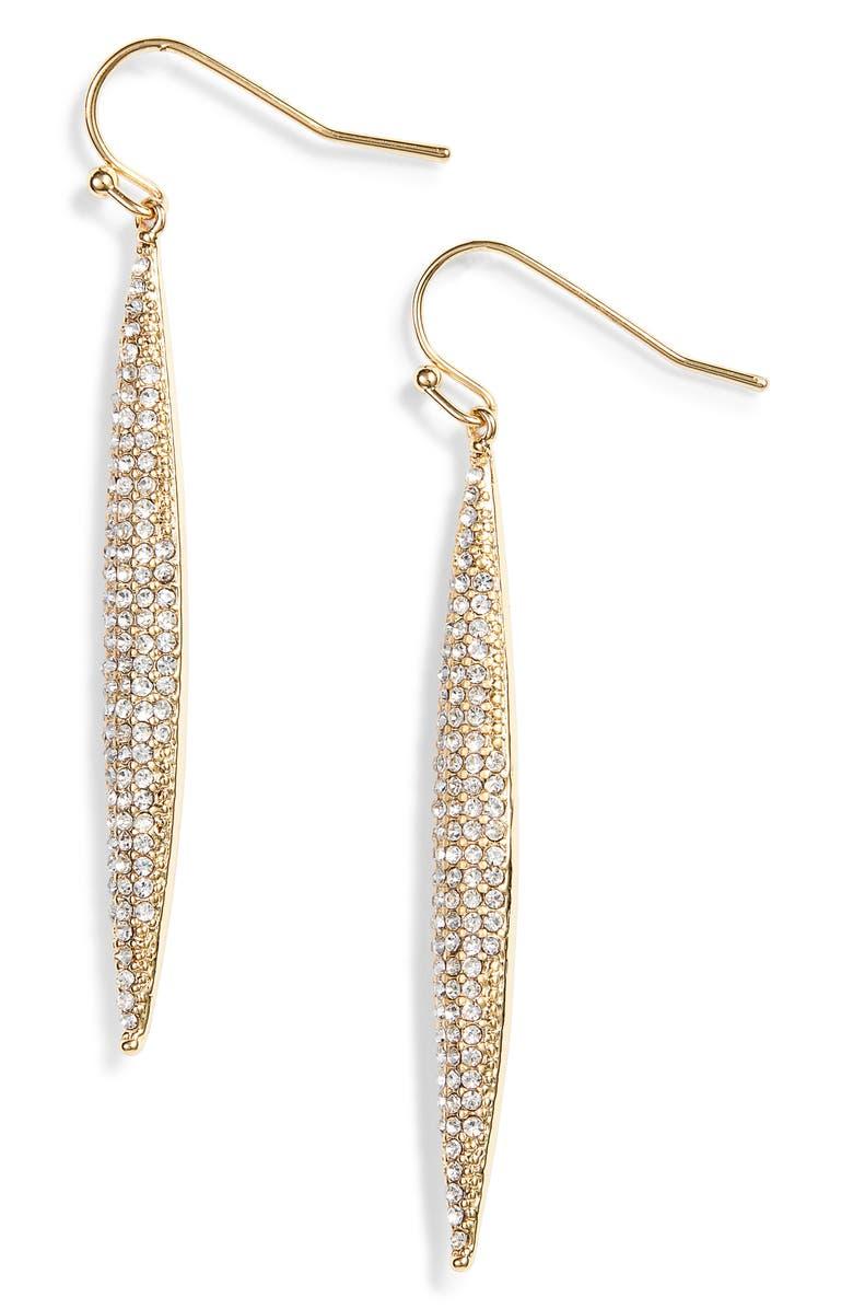 VINCE CAMUTO Crystal Pavé Linear Drop Earrings, Main, color, GOLD/ CRYSTAL
