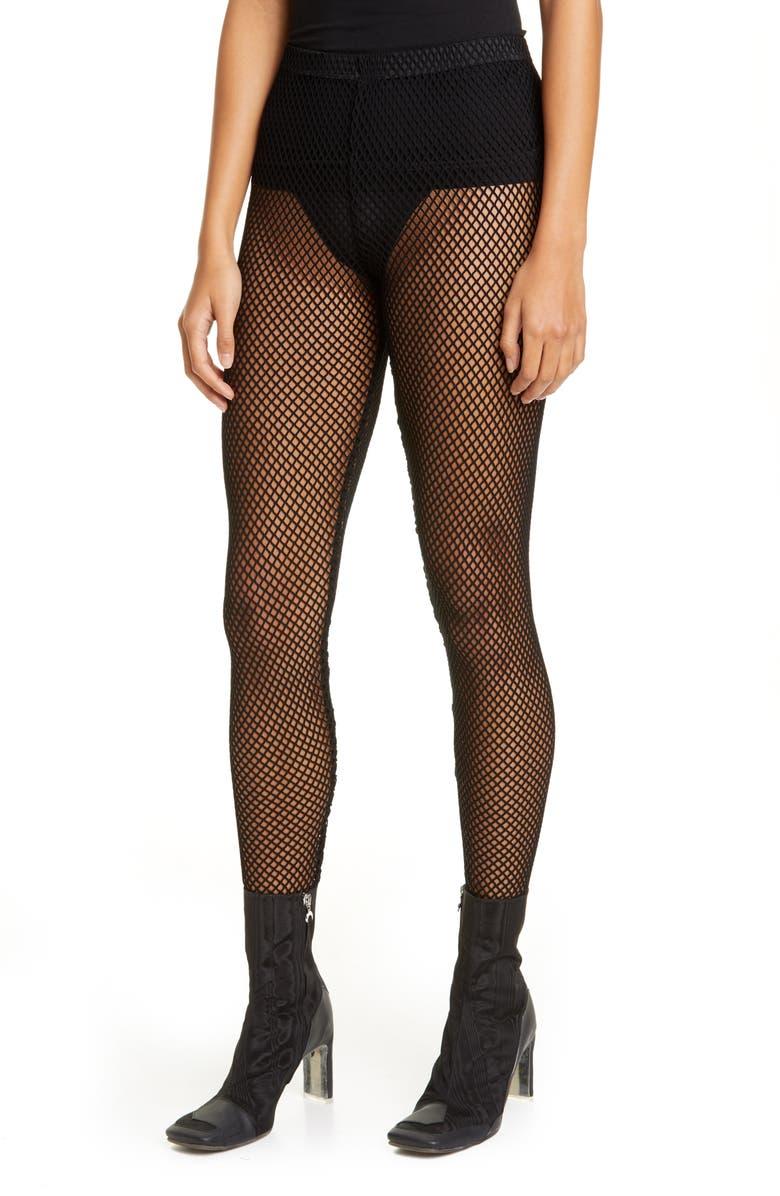 COMME DES GARÇONS Fishnet Leggings, Main, color, BLACK