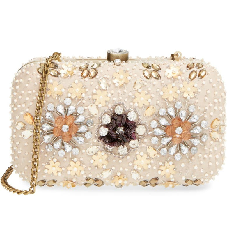 ZZDNU NATASHA COUTURE Natasha Couture Bead & Crystal Floral Clutch, Main, color, 250