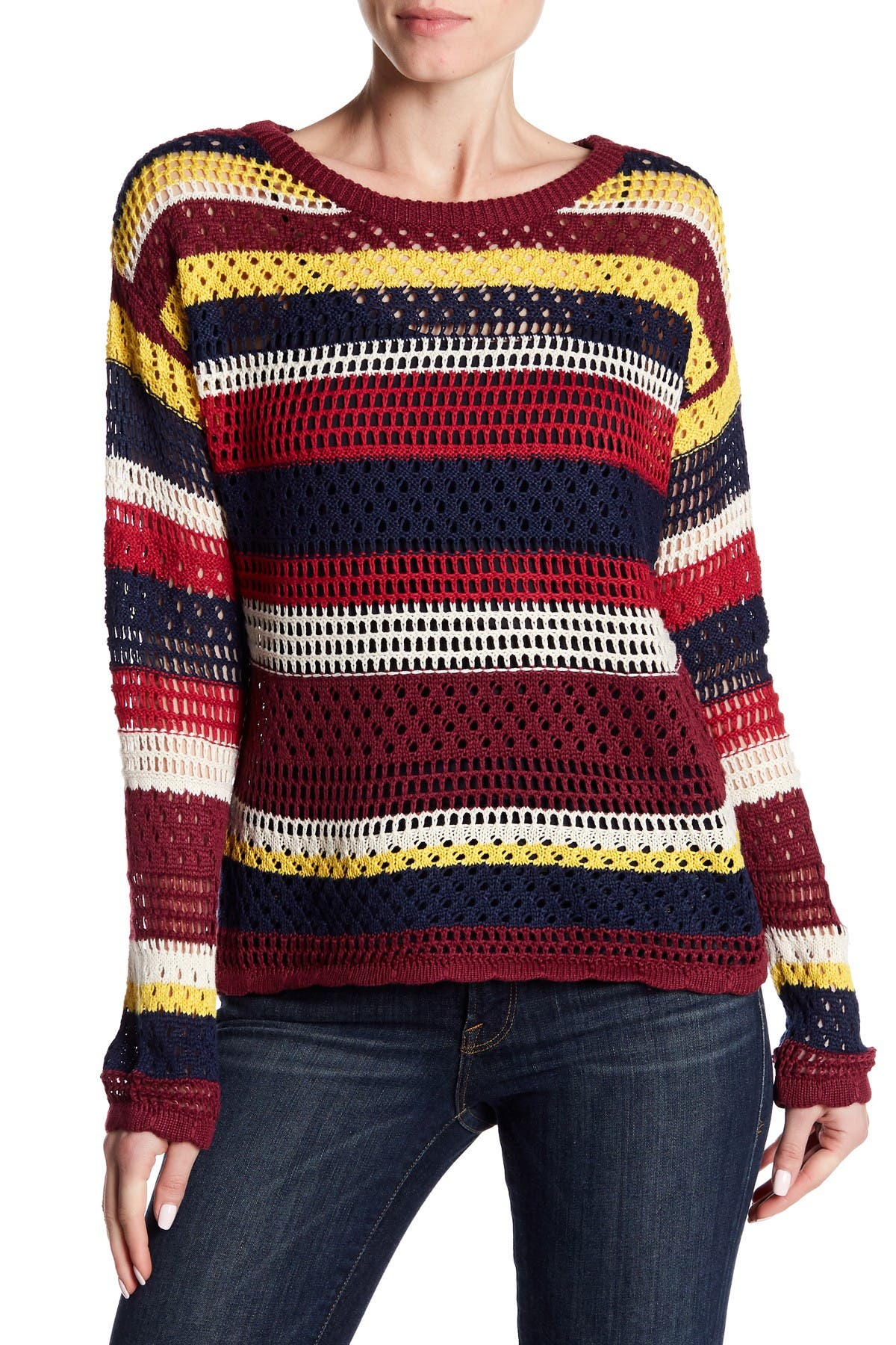 Image of Flying Tomato Multicolored Open Knit Sweater