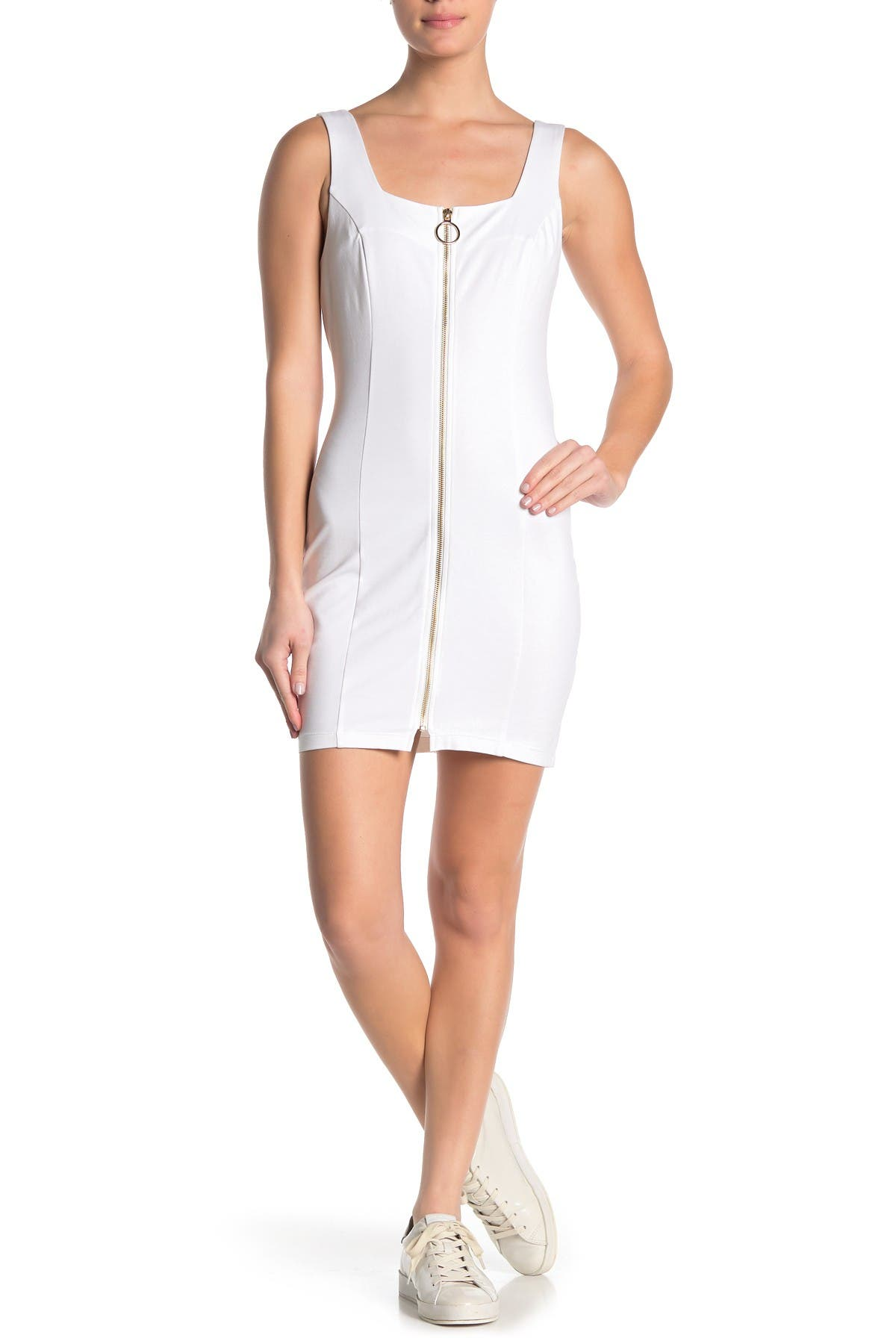Image of BAILEY BLUE Square Neck Zip Front Ponte Dress