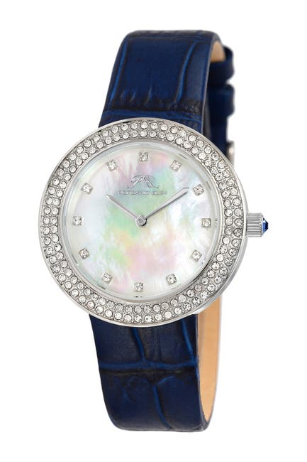 Image of Porsamo Bleu Women's Larissa Crystal Leather Strap Watch, 35mm