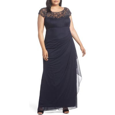 Plus Size Xscape Ruched Side Beaded Gown, Blue