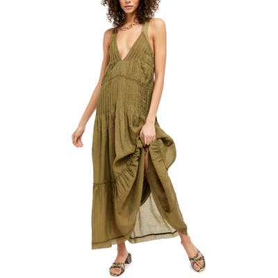 Free People Frankie Pintuck Sleeveless Maxi Dress, Green
