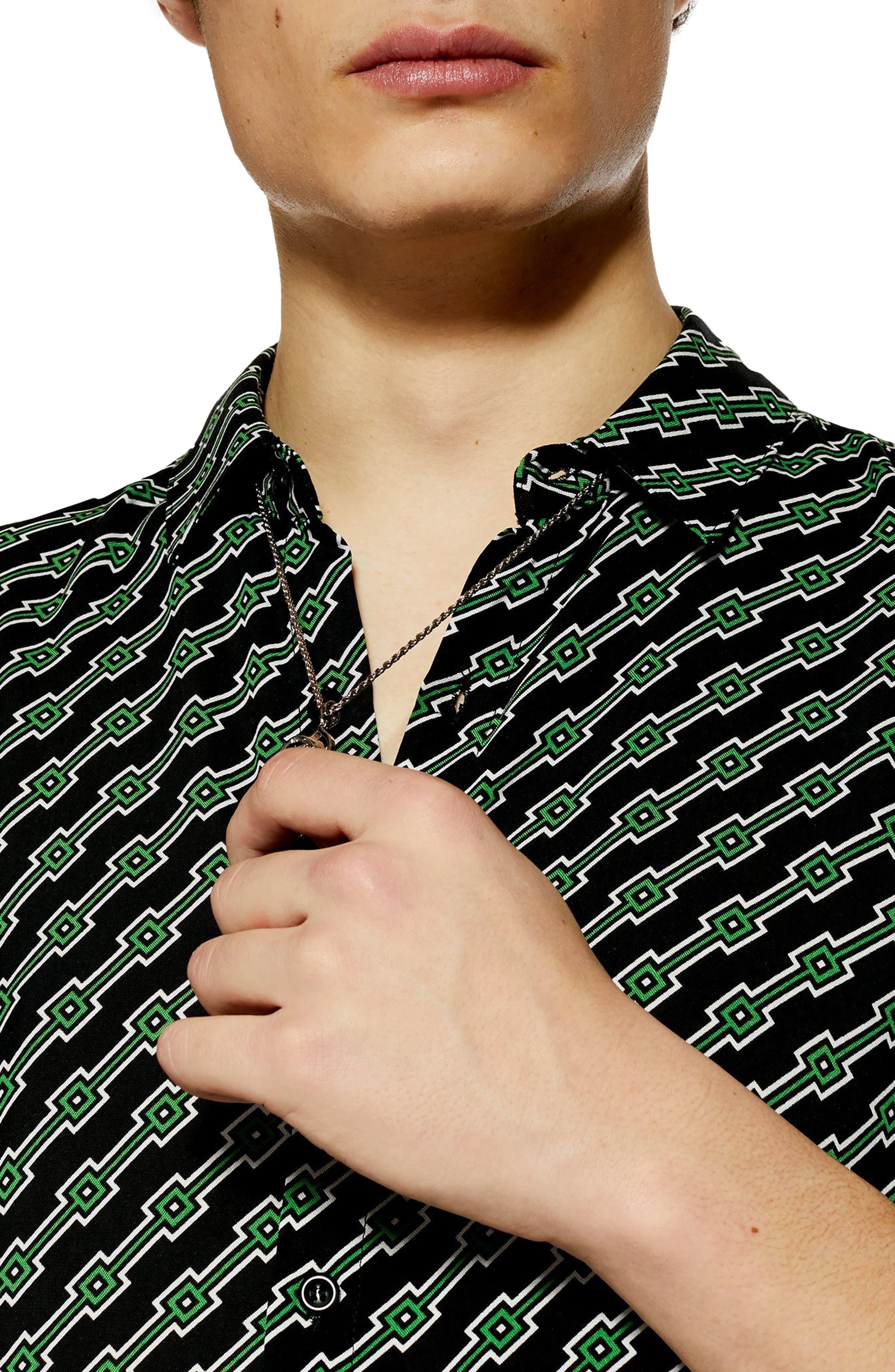 ,                             Slim Fit Geometric Print Shirt,                             Alternate thumbnail 2, color,                             BLACK MULTI
