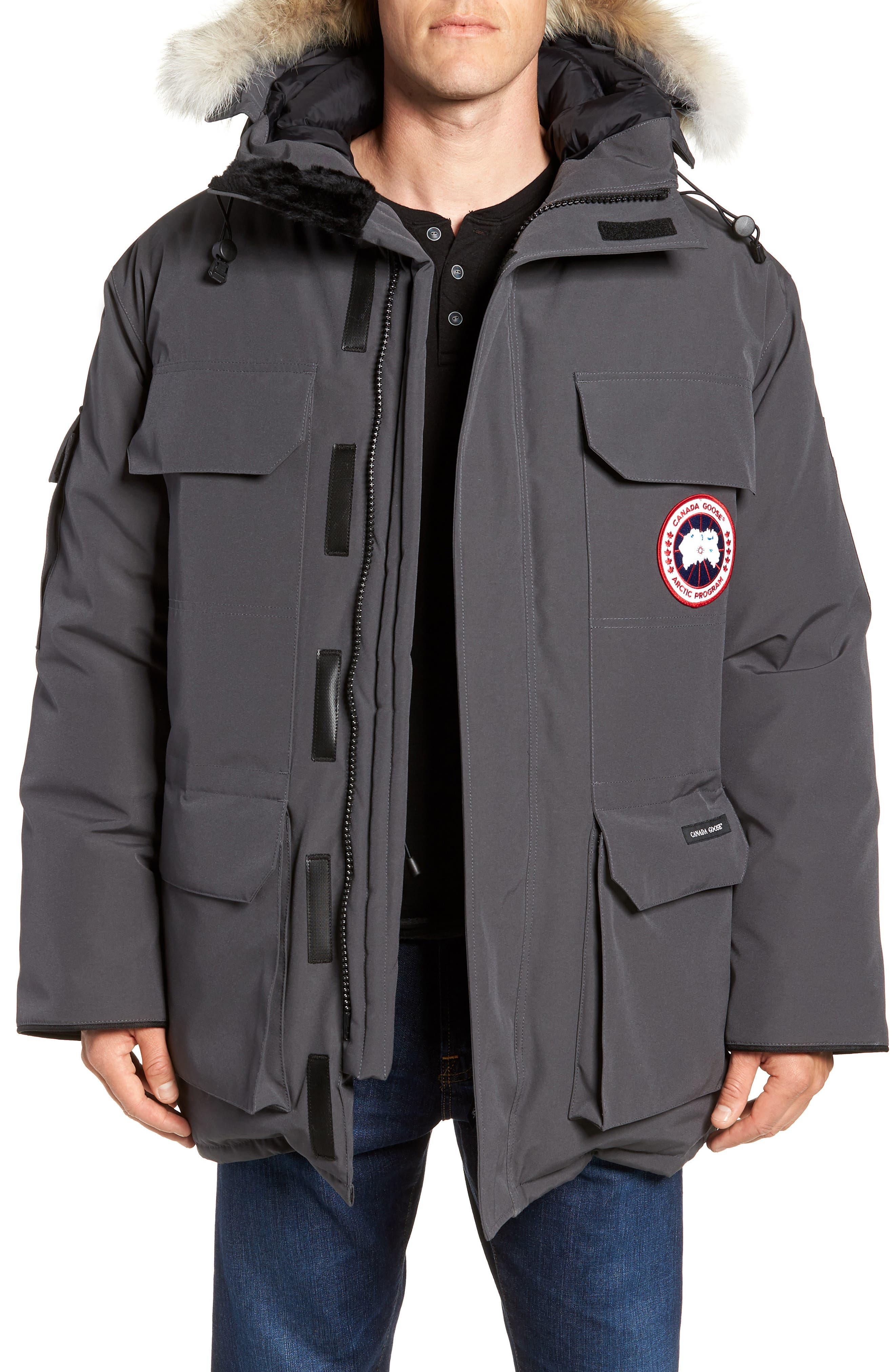Canada Goose Pbi Expedition Regular Fit Down Parka With Genuine Coyote Fur Trim, Grey