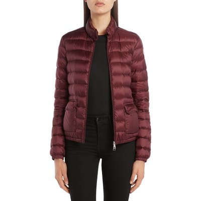 Moncler Lans Quilted Lightweight Down Jacket, Burgundy