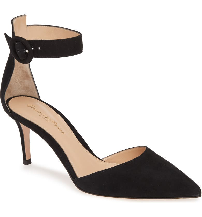 GIANVITO ROSSI Pointy Toe Ankle Strap Pump, Main, color, BLACK