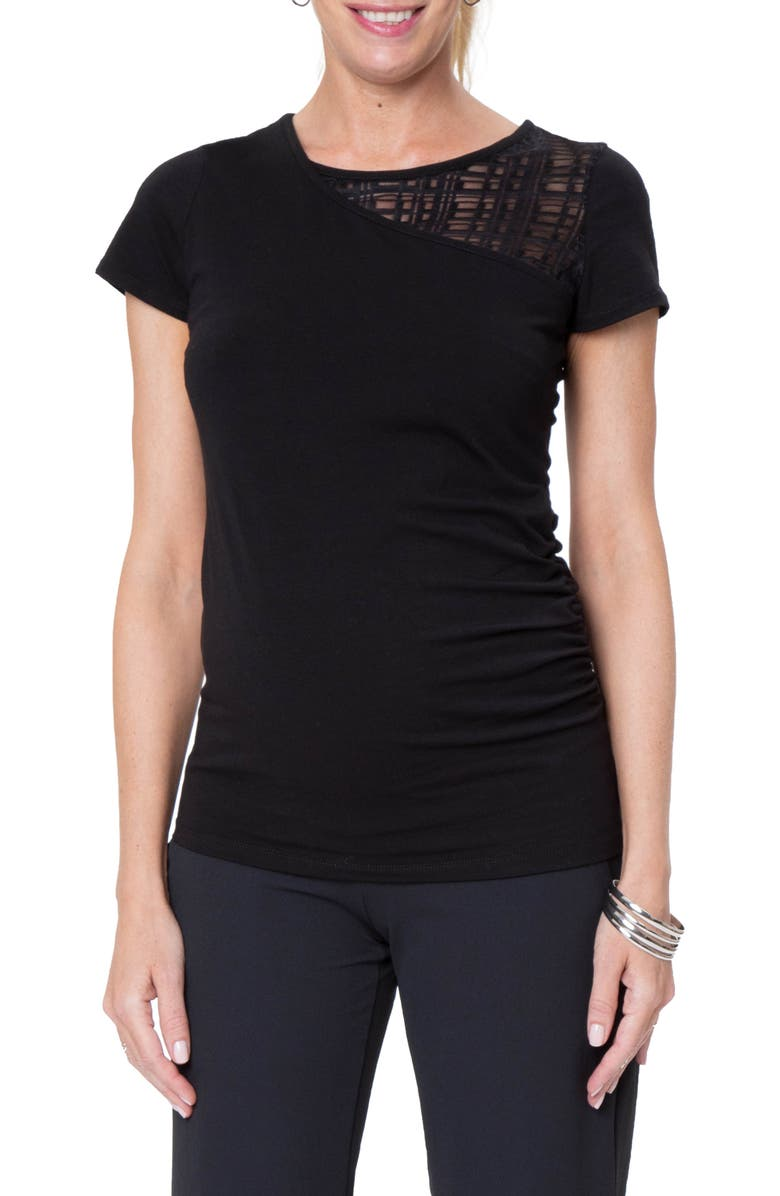 STOWAWAY COLLECTION City Maternity/Nursing Tee, Main, color, BLACK