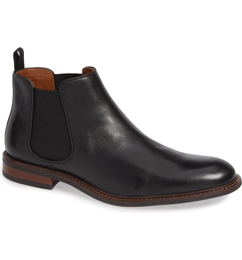 NORDSTROM MEN'S SHOP David Chelsea Boot, Main, color, BLACK LEATHER