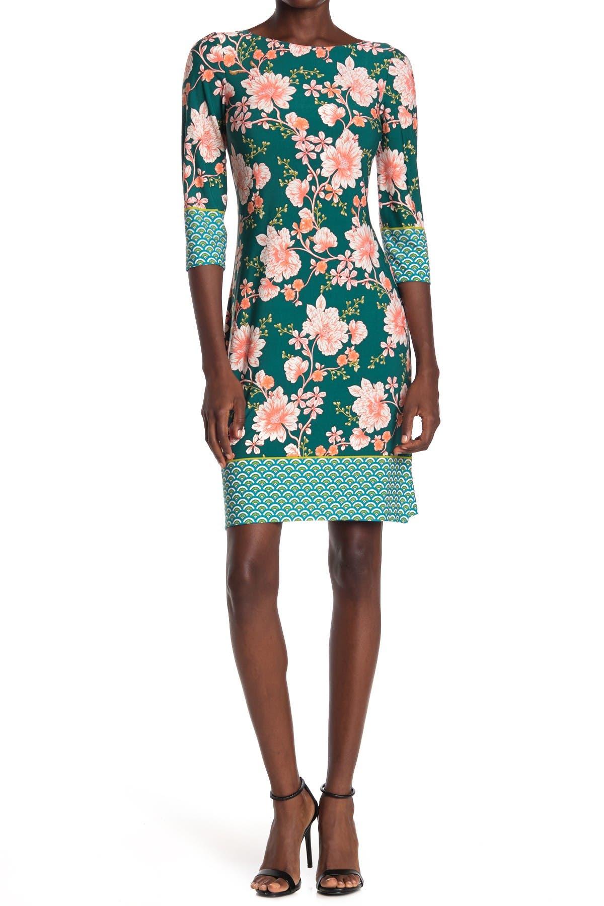 Image of London Times Floral Jersey Sheath Dress