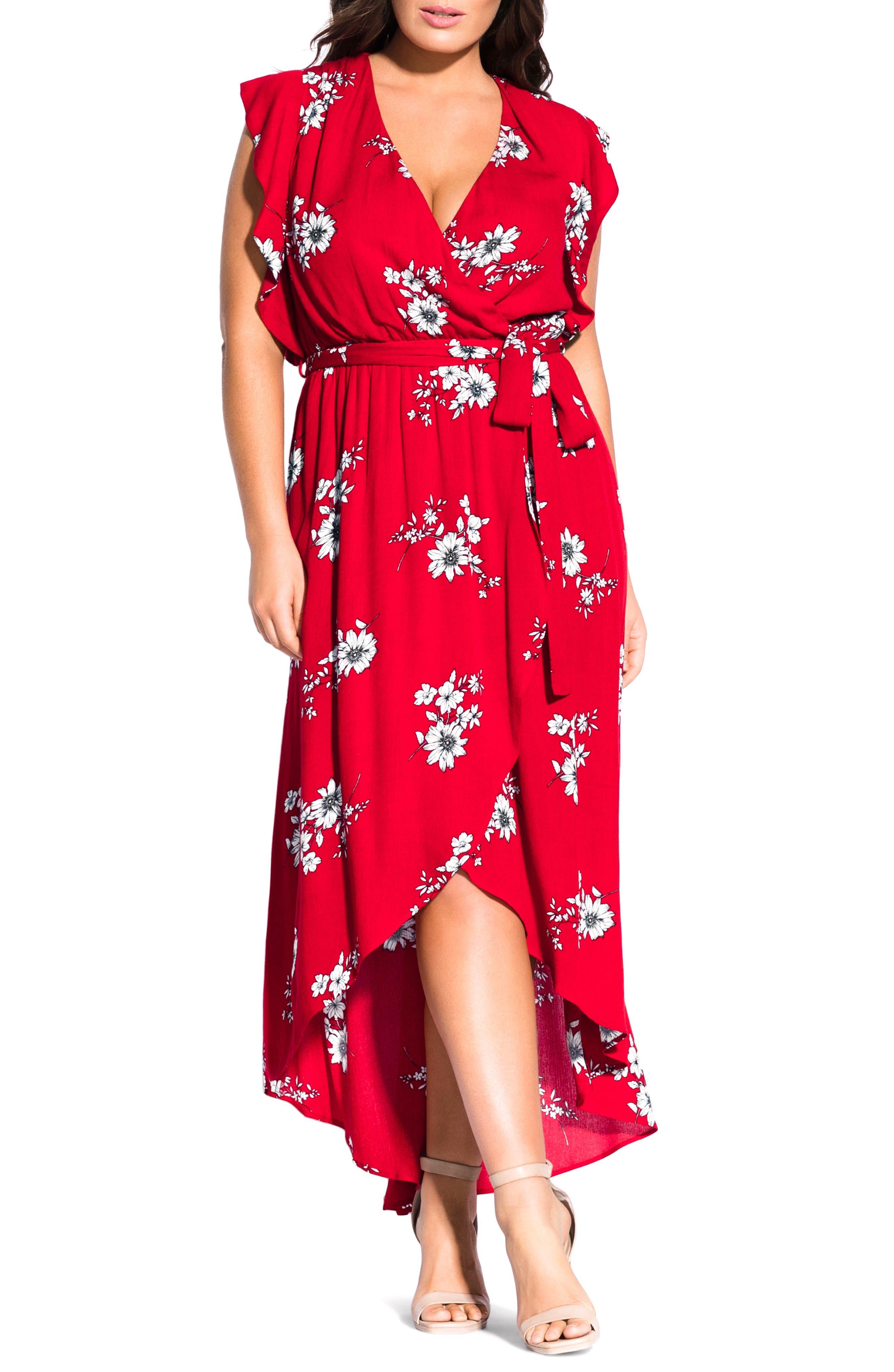 Plus Size City Chic Floral Print Wrap Maxi Dress, Red