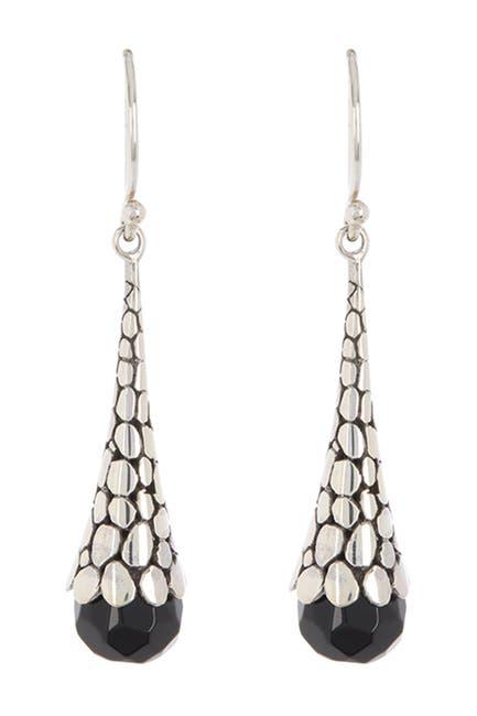 Image of Samuel B Jewelry Sterling Silver Scale Design Black Onyx Earrings