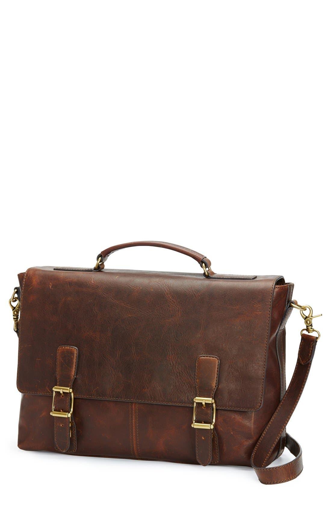 Logan Leather Briefcase, Main, color, DARK BROWN